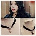 658 Caliente Nueva Exo Bijoux Collares de Perlas de Imitación Negro Corto Collar de la Declaración Para Las Mujeres Gargantilla Joyas de Regalo Chica de One Direction