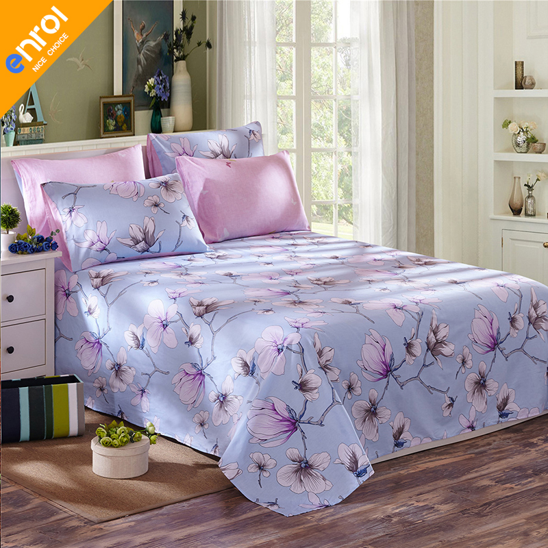 cotton flat sheets queen king size european printed single bed sheet pink flowers with elastic. Black Bedroom Furniture Sets. Home Design Ideas