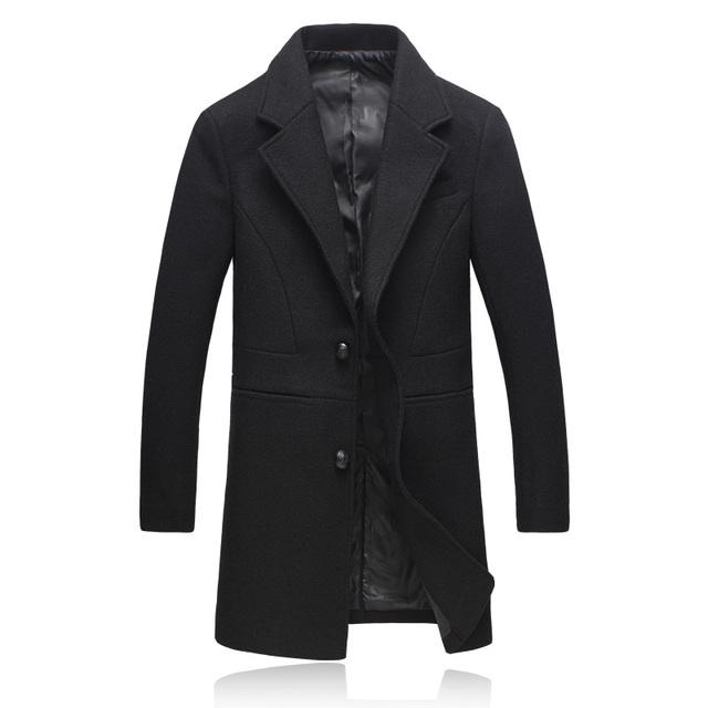 Homens da moda Casacos Longos 2016 V-Neck Sólidos Casacos De Lã inverno Dos Homens Quentes Roupas Góticas Plus Size Luva Cheia Acabamentos 807