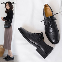 Retro Brogue Genuine Leather Woman Oxford Shoes British Style Vintage Cut Outs Flat Shoes Casual Oxford Shoes for Women