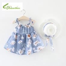 Mädchen Kleid 2018 Neue Kleinkind Mädchen Sommer Sleeveless Bogen Kleider Baumwolle Floral Bedrucktes Kleid mit Hut 2 Stücke für Mädchen Kleidung