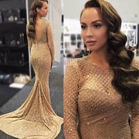 Full Sleeved Gold Plaid Glitter Mermaid Maxi Dresses / Glittered Short Dresses Patchwork Hollow Out Bodycon Party Dress