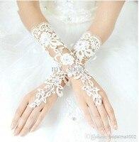 Free Shipping New Luxury Lvory Lace Princess Bridal Gloves Fashion Female Long Design Wedding Dress Gloves