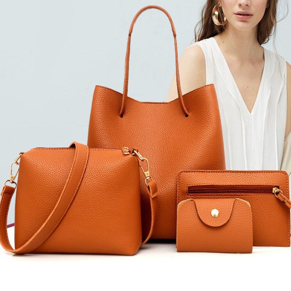 4Pcs New Fashion Womens Bag Solid Soft Pu Leather crossbody bags for women Versatile Zipper Elegant Wine Red female Handbag