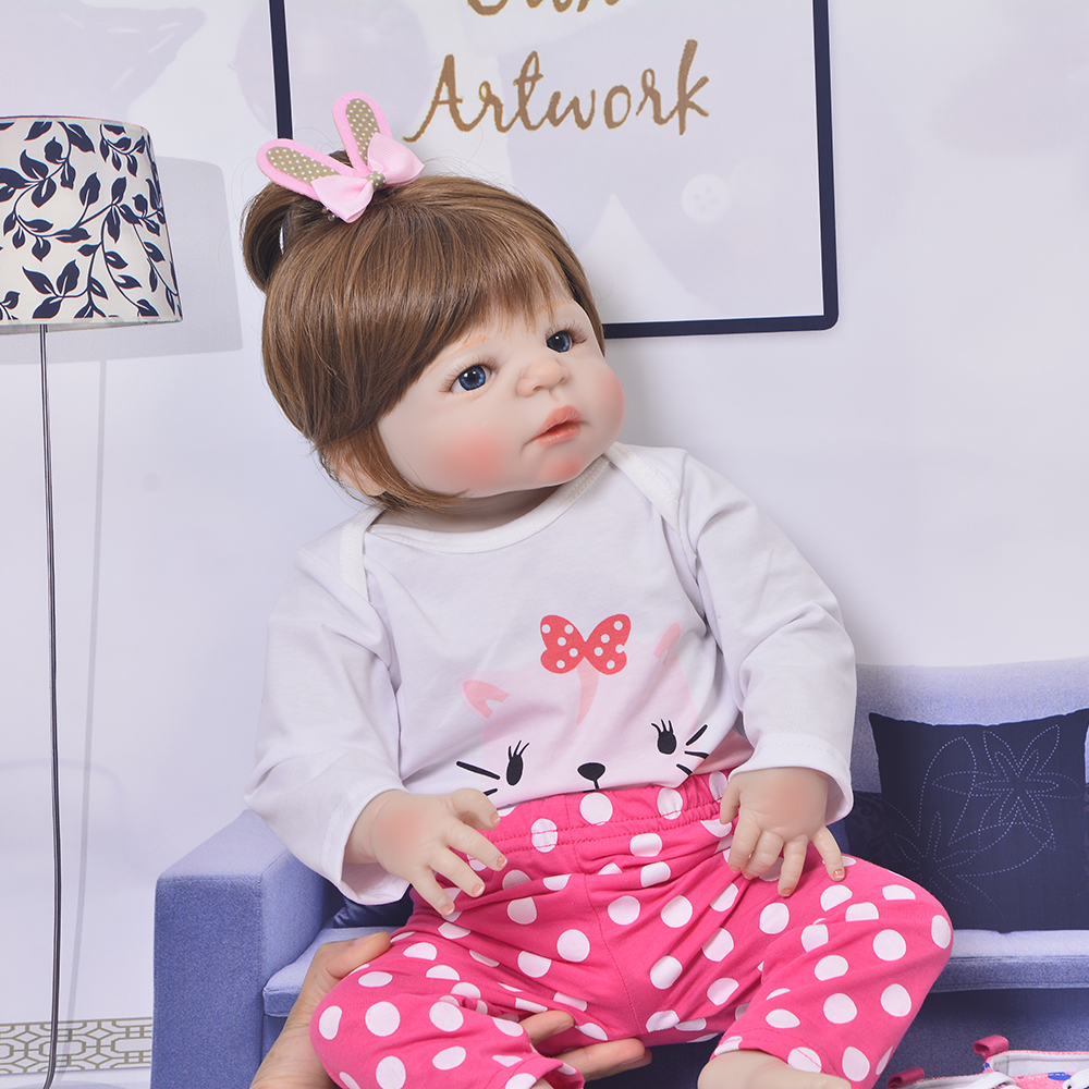 23'' 57 cm Lifelike Full Body Silicone Baby Girl Doll Fashion Princess Bebe Reborn Doll For Children's Day Gift Early Education christmas gifts in europe and america early education full body silicone doll reborn babies brinquedo lifelike rb16 11h10