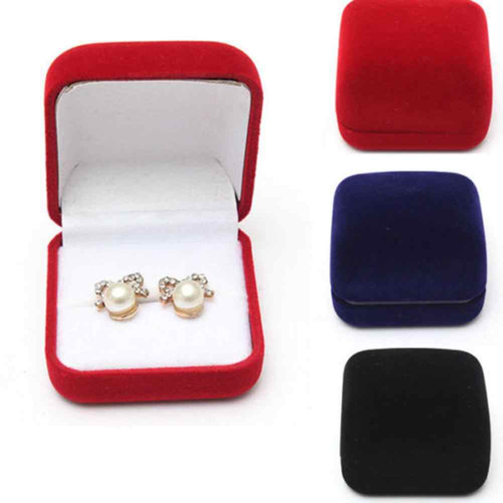 Jewelry earrings ring display storage box gift box cover velvet ring earrings jewelry box ring stud earrings jewelry Packing box
