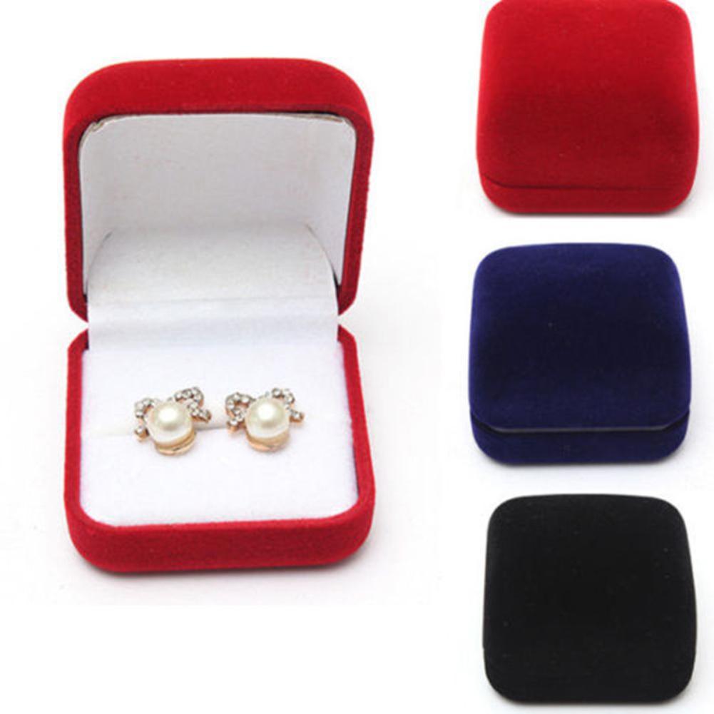 Jewelry Earrings Ring Display Storage Box Gift Box Cover Velvet Ring Earrings Jewelry Box Ring Stud Earrings Jewelry Packing Box