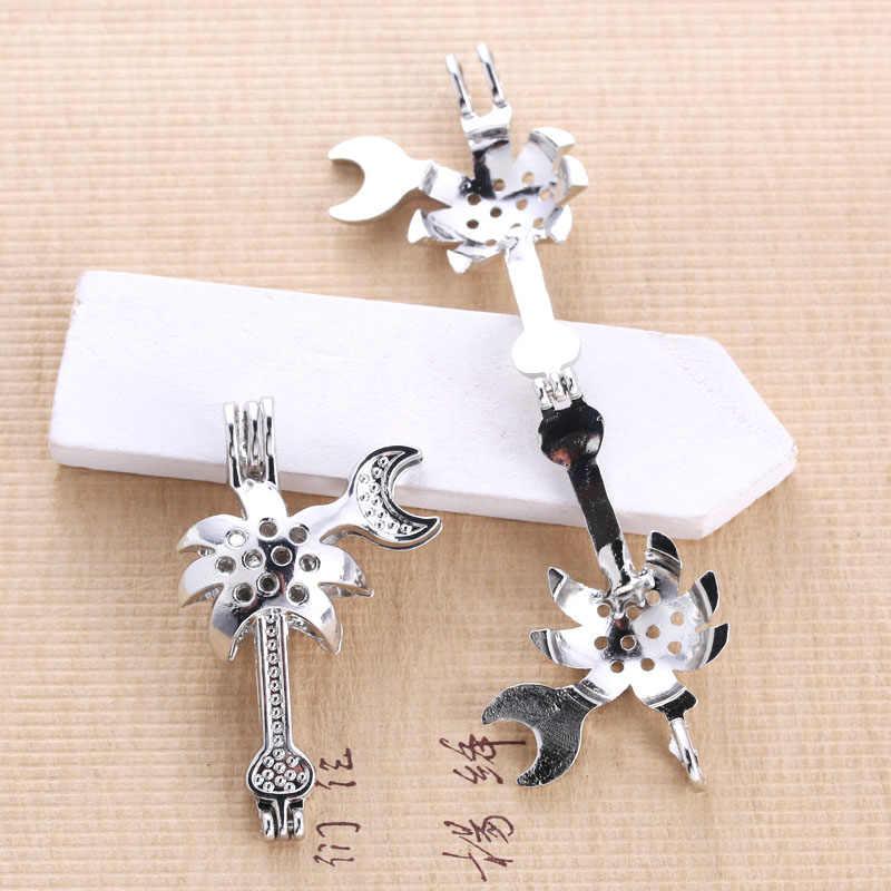 6pcs Silver Hollow มะพร้าวต้นไม้ Pearl สร้อยคอเครื่องประดับอุปกรณ์ลูกปัดกรง Locket Diffuser จี้เครื่องประดับ