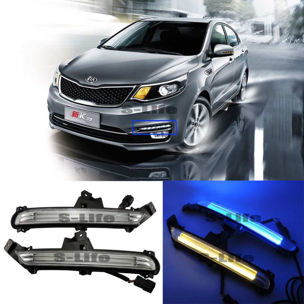 3 Colors Blue Daytime Running Lights DRL Turn Singal Lamps For Kia K2 2015-2018