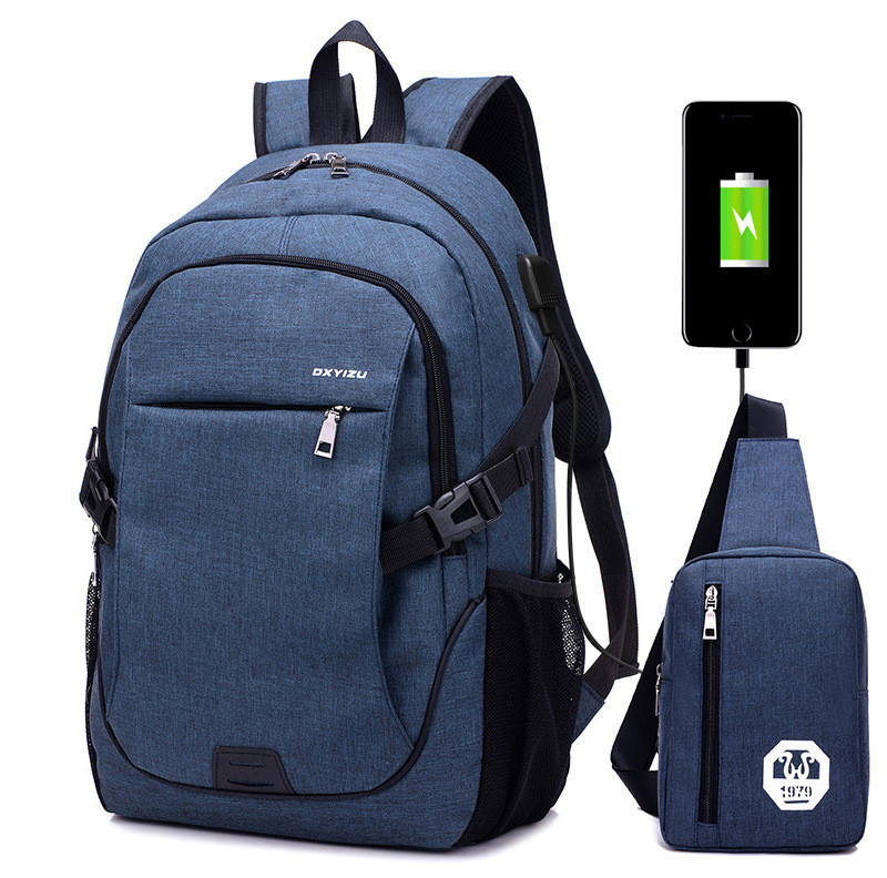 ZHIERNA 2pcs / set Backpack Man's Bag with USB Charging Jacks Male Practical Computer Package Student Multi Purpose Combination