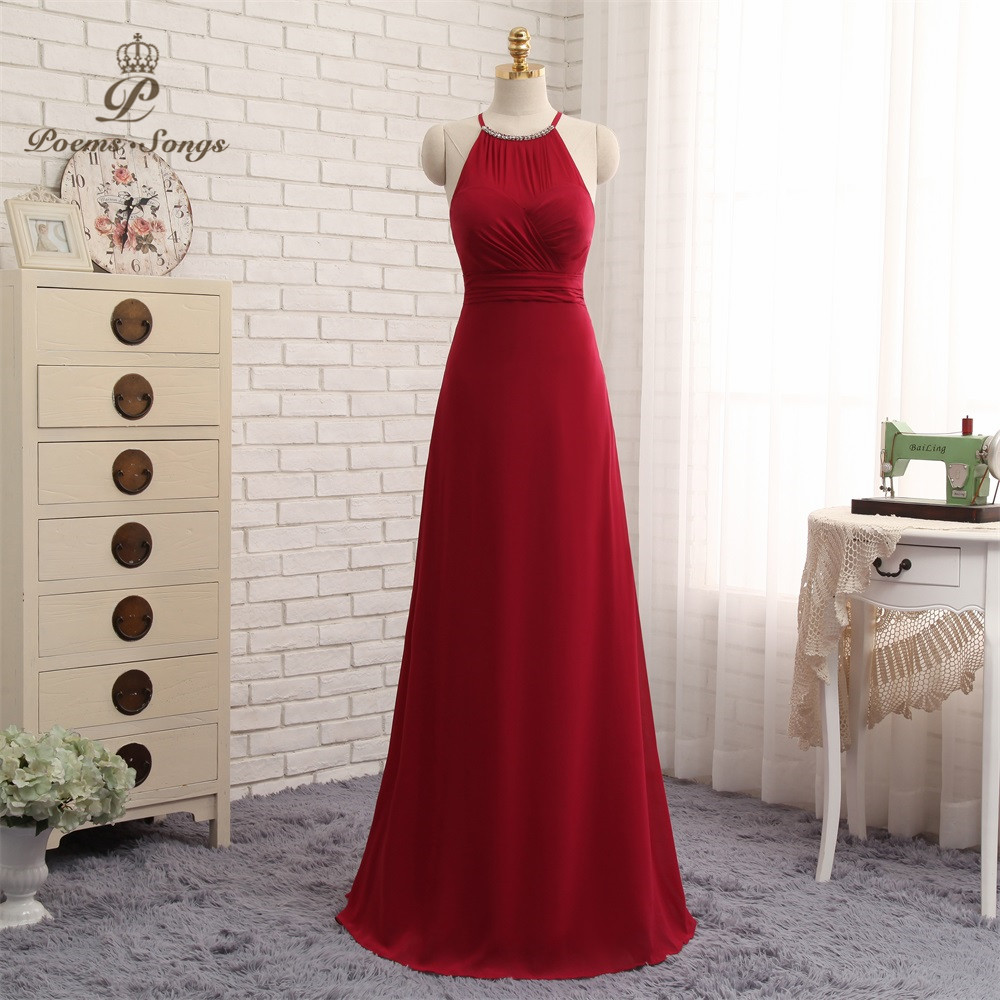 Poems Songs Simple wine red   Evening     dress   elegant party   dress   Robe De Soiree Longue