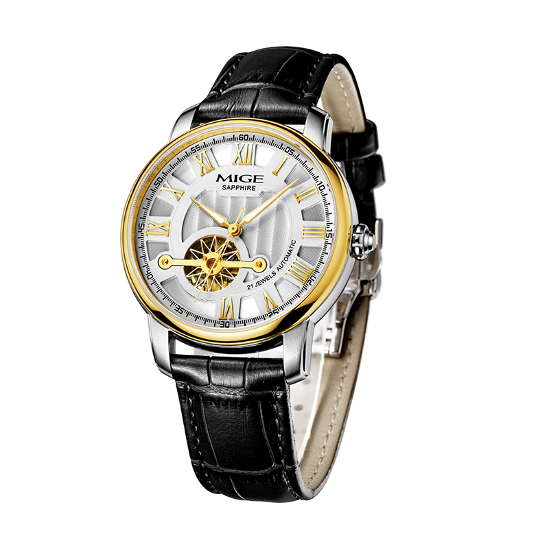 2018 Mige New Hot Luxury Skeleton Gold Case White Black Leather Strap Japan Automatic Movement font
