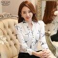 2016 Весной Новый Женская Мода работа в офисе леди шифон блузки белый элегантный sexy v-образным вырезом блузки плюс размер женской рубашки 585A 35