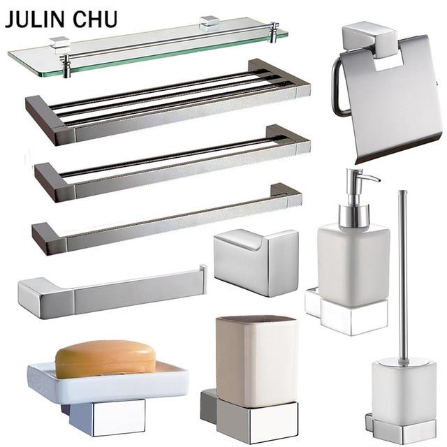 Incroyable Chrome Bathroom Accessories Hardware Sets Brass WC Toilet Brush Paper  Holder Towel Rack Bars Shower Soap Dispenser Dish Holders