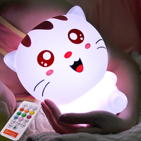 Multicolor Silicone Novelty LED Night Light With Remote Controller USB Rechargeable Cute Cat Children BabyBedside Table