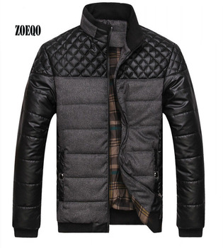 ZOEQO Dropshipping NEW winter spring thick Men's Jackets and Coats PU Patchwork Designer Fashion Mens Jackets Cotton Outerwear Men Outerwear