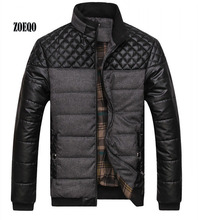 ZOEQO Dropshipping NEW winter spring thick Mens Jackets and Coats PU Patchwork Designer Fashion Mens Jackets Cotton Outerwear cheap Regular Polyester Standard Broadcloth 9915 Mandarin Collar Pockets Zipper None Casual winter autumn gray army green blue