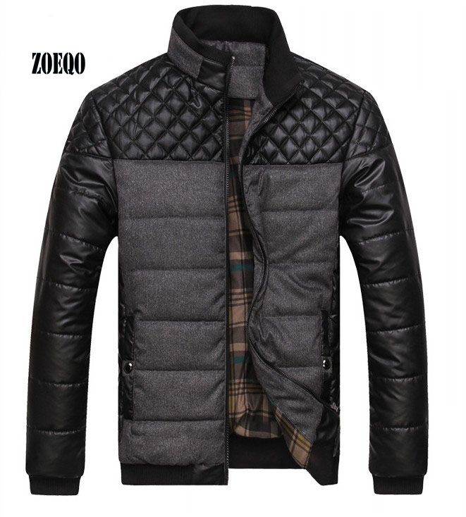 ZOEQO NEW Winter Spring Thick Men's Jackets And Coats PU Patchwork Designer Fashion Mens Jackets Cotton Outerwear