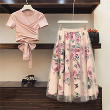Orgreeter Women Flower Pring Mesh Cotton Irregular T-shirt Casual 2 Piece Set Bowknot