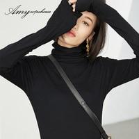 Amy Wine House Winter Fashion Turtleneck Tops Long Sleeve Cotton T Shirt Slim Casual T Shirt
