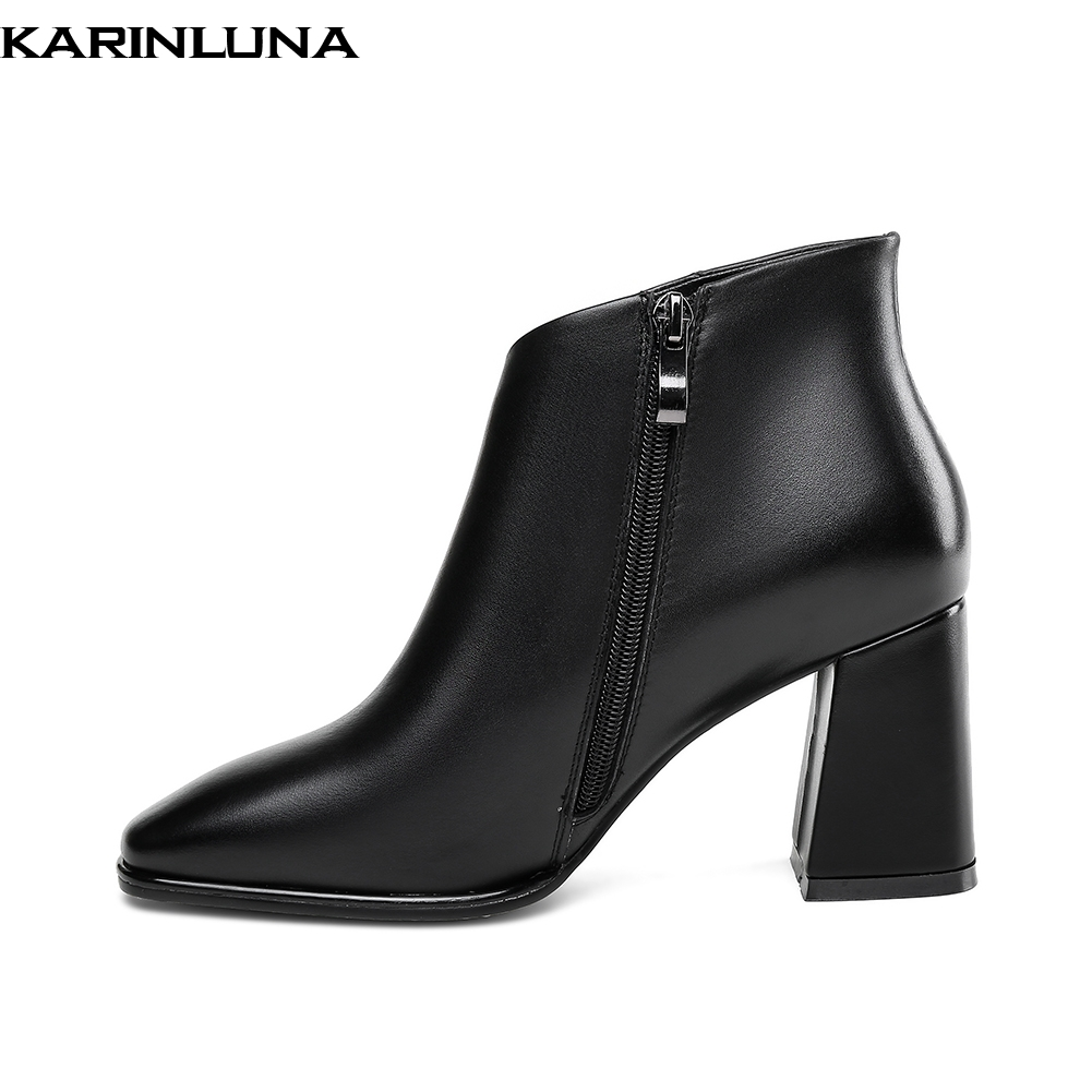 Cuero Genuino Tacón Beige Fiesta Elegante De Mujer Caliente Pezuña Zapatos negro Alto Karinluna 2019 Botas Venta qRazF8