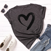Spring and summer new style Ink heart pattern round neck cotton t-shirt fashion casual Solid color short sleeves