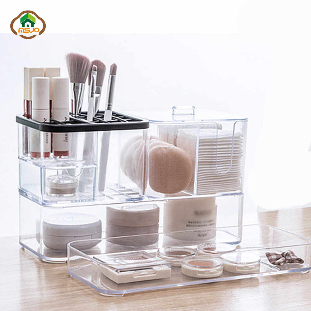 Msjo Makeup Organizer Box  Acrylic  Organizer Box Nail Polish Lipstick Cosmetic Cotton Storage Boxes Bins Make up Organizers