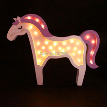 White wooden LED horse Marquee Sign lavender pony night light children's nursery Deration lediary novelty unicorn night light marquee sign white pink blue horse led decoration bedside lamp gifts toy christmas holiday
