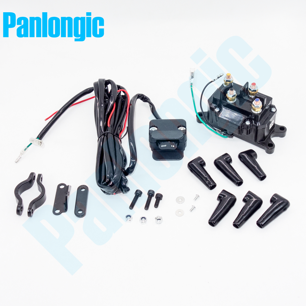 12v 200a electric winch solenoid relay rocker switch with caps for atv utv truck black metal [ 1000 x 1000 Pixel ]