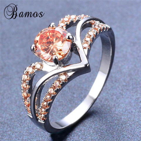Bamos New V Shape Design Round Multicolor AAA Zircon Birthstone Ring White Gold Filled Best Wedding Rings For Women Lover Gifts Pakistan