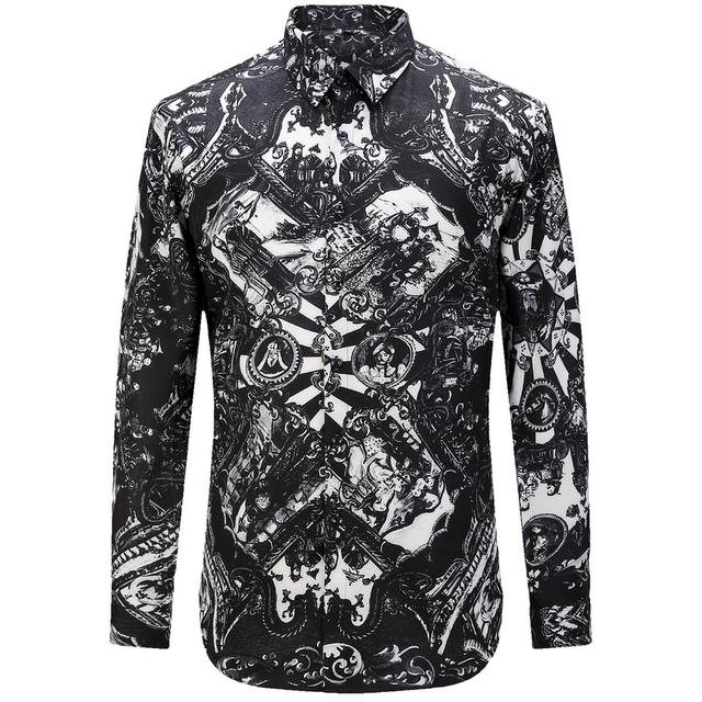Nuevo 2017 de Estilo Europeo Camisa de Los Hombres de Moda Casual Diseñador de la Marca Camisa Mmasculina T0161