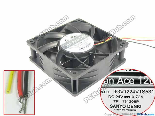 Sanyo Denki 9GV1224V1S531 Server Square Fan DC 24V 0.72A 120x120x38mm 3-wire