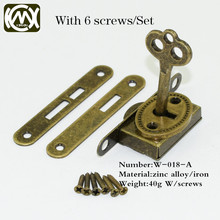 10pcs In stock Quality assurance Five-piece set bronze box lock,jewelry/Wooden/Collection box lock,hardaware accessories, W-018 цена в Москве и Питере