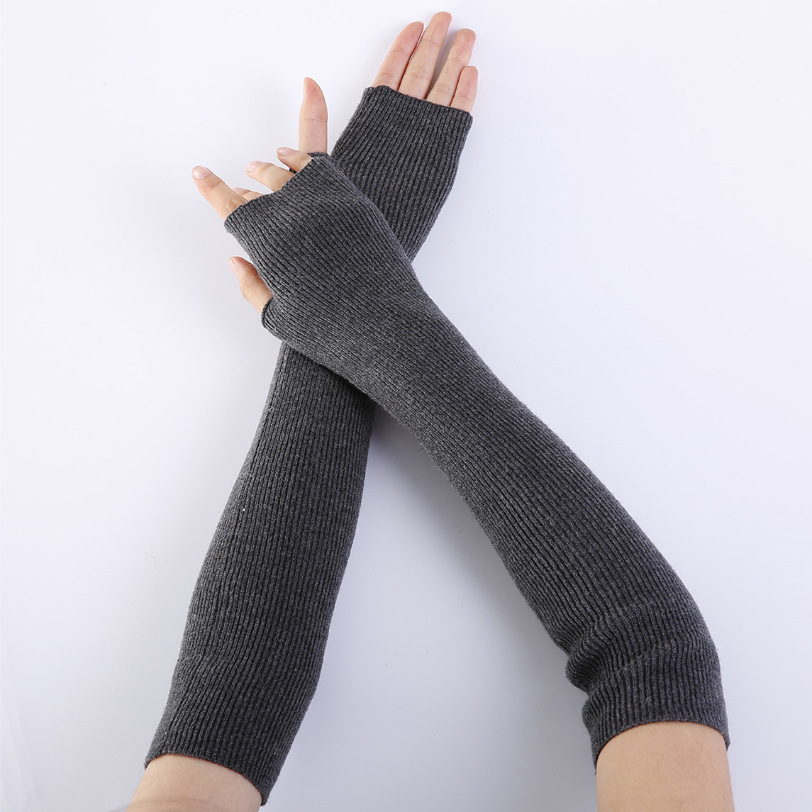 Armstulpen 2018 Winter Reine Farbe Wolle Weiche Modische Warme Handschuhe Finger Kaschmir Halb Arme Arm Wärmer 1 Paar Damen-accessoires
