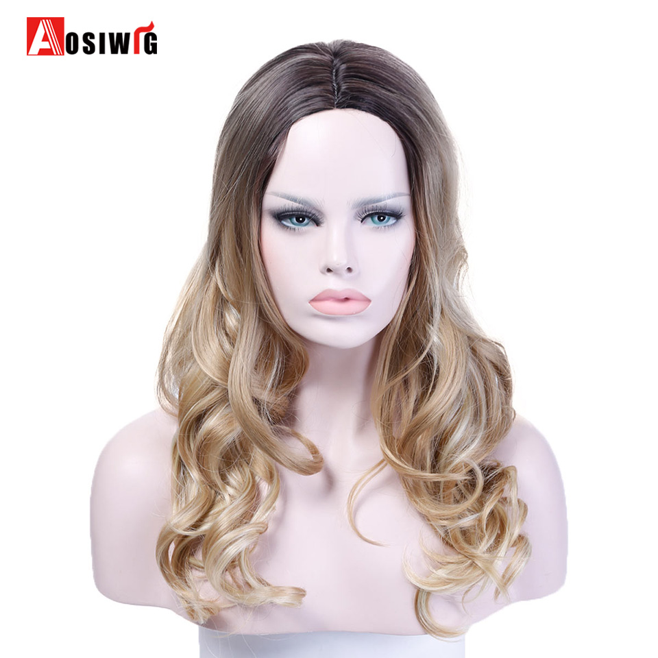 AOSIWIG Ombre Black Brown Hair Long Wavy Wig Synthetic Wig Costume Party High Temperatur ...
