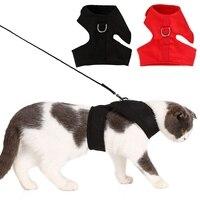 Кошка шлейка с поводком набор шлейка для кошек жилет для животных веревка собака поводок с грудным обхватом набор воротник приводит жгут дл...