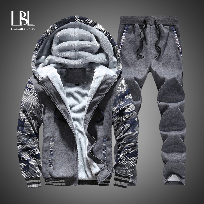 Tracksuits Men Hoodies Sportswear-Set Pants Fleece Male Winter Thick New Zipper