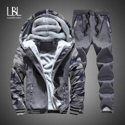 Nieuwe Winter Trainingspakken Mannen Set Dikke Fleece Truien + Broek Pak Rits Hooded Sweater Sportkleding Set Mannelijke Hoodie Sporting Suits