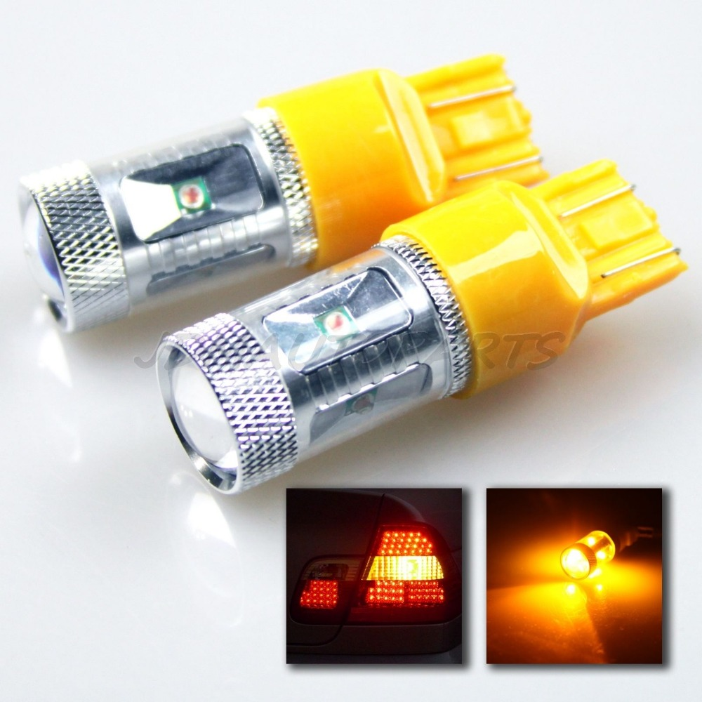 T20 W21/5W W3X16Q 7443/7440 WY21W 30W Cree Chips AMBER LED FRONT REAR TURN SIGNAL LIGHT PROJ BULBS/TURN BACK UP STOP LIGHT 30w amber orange canbus error free cree chips led t20 7440 w21w led car turn signal light bulb