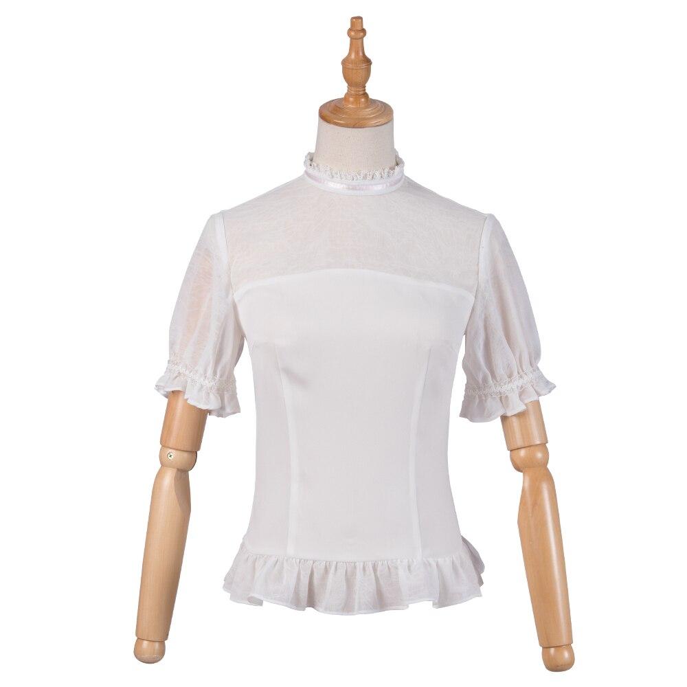 Chemisier Lolita blanc manches courtes volanté Semi-transparent doux haut