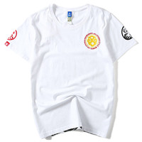 2019 The New Men's Spring And Summer Cotton Youth Fashion T Shirt Short Sleeve Japanese Monkey King Wave Embroidery T Shirt