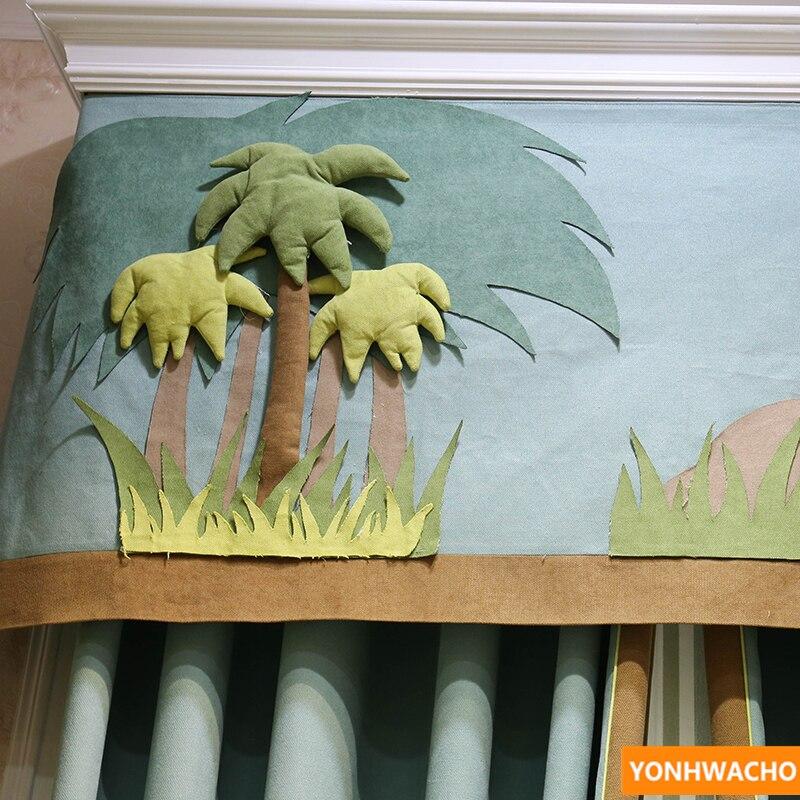 Personalizada de cortinas Chevron parche bordado de dinosaurio de dibujos animados tela engrosamiento tela azul cortinas de tul cenefa N620 - 3