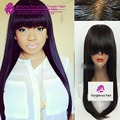 7A Peruvian Soft Silky Straight Full lace Human Hair Wig Virgin silk Straight Front lace wig For Black Women with chinese bang