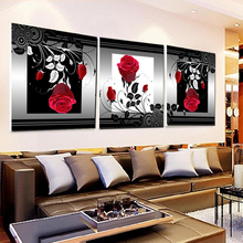 3PCS Unframed Canvas Painting Chinese Rose Flower Wall Painting Drawingroom Printed Art Picture Home Decor Frameless paintings