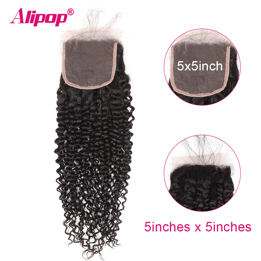 5x5 Closure Malaysian Curly Hair Lace Closure Free Middle Three Part Preplucked With Baby Hair Swiss Lace Remy Human Hair ALIPOP