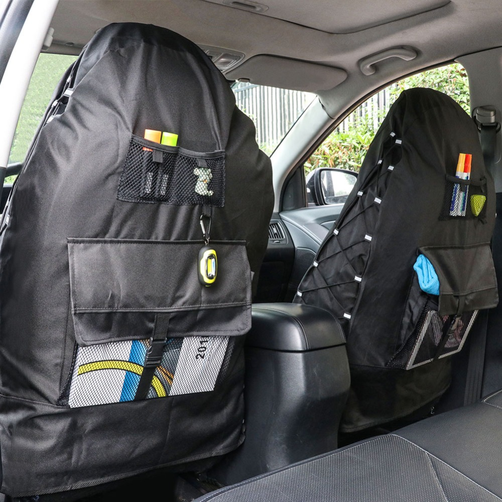TIROL  Waterproof Universal Oxford Car Bucket Seat Cover with Multi Pockets Organizer Storage High Back Seat Protector 2 Pack-in Automobiles Seat Covers from Automobiles & Motorcycles    3