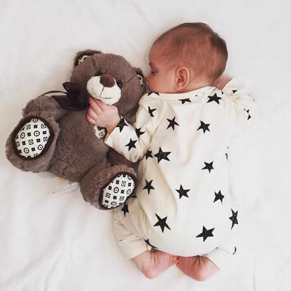 Baby Overalls for Newborn Children Autumn Clothes Boys Girl Rompers Long Sleeve Cotton Jumpsuit Star Print Infant Clothing newborn infant baby boy girl cotton romper jumpsuit boys girl angel wings long sleeve rompers white gray autumn clothes outfit
