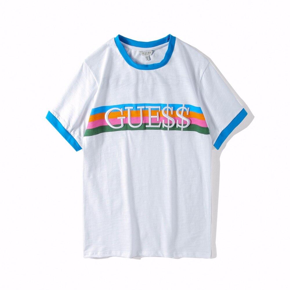 super specialerbjudanden annorlunda online-återförsäljare Guess Money embroidery T Shirt Hip Hop Tshirts men Short Sleeve ...