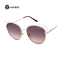 AOUBOU Brand Design Cat Eye Sunglasses Women Mirror Silver Sun Glasses With Box Alloy Round Frame Lady Eyewear UV400 Sol AB722