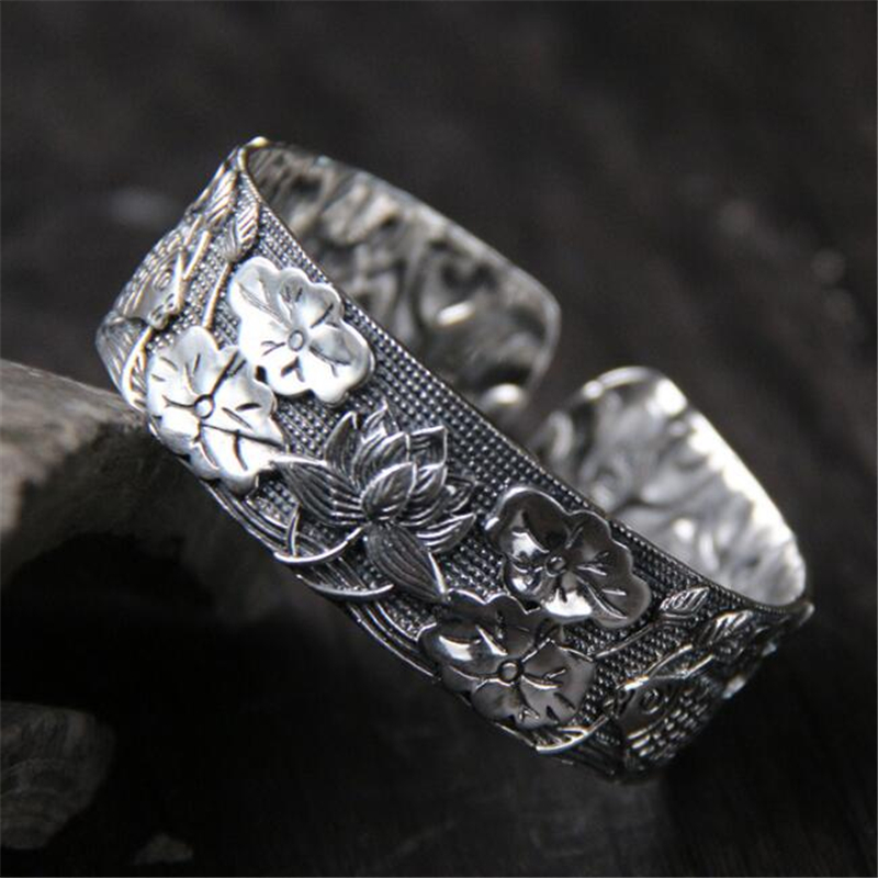 New Women Jewelry S999 Silver Lotus Flower Fish Opening Cuff Bangle Charm Bracelet for Gifts Jewelry Width 19.70mm 54.80GNew Women Jewelry S999 Silver Lotus Flower Fish Opening Cuff Bangle Charm Bracelet for Gifts Jewelry Width 19.70mm 54.80G